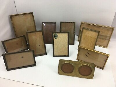 Antique Set 11 Brass Picture Frame w/ Convex Bubble Glass