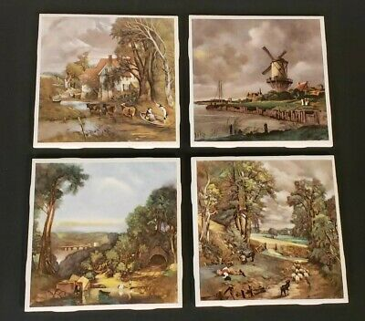 Vintage Set (4) ~ H R JOHNSON Ceramic Tile made in England ~ English Countryside
