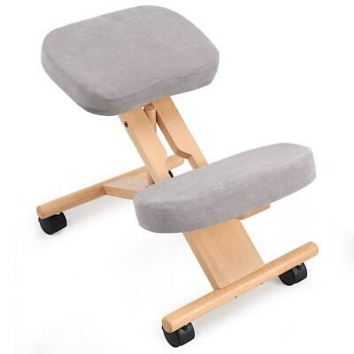 NEW Wooden Grey Kneeling Orthopaedic Ergonomic Posture Desk Chair Stool Seat