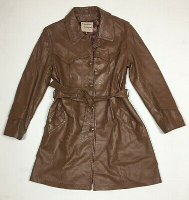 Vintage Leathers By New England Sportswear Women's Brown Belted Jacket Size 16