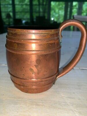 Vtg Mid Century 1950s Cavalier Copper Moscow Mule Barrel Mug Cup National Silver