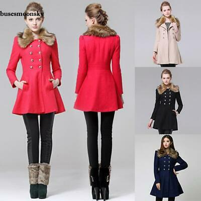 Chic Women Lady Slim Fit Double Breasted Coat Parka Woollen With Fur BMKY