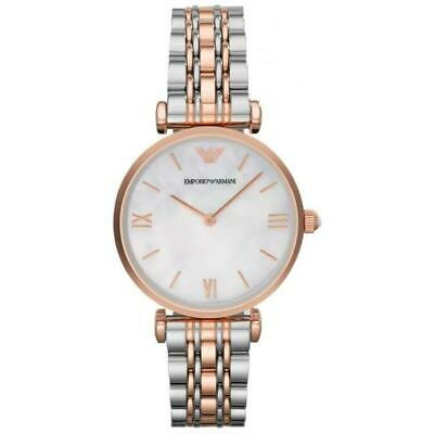 New Armani Womens Ar1683 Gianni T-Bar Watch Mother Of Pearl Dial Rrp £279.00