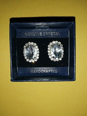 Crystal Square Stone Stud Earrings  Womens Jewellery Gift New