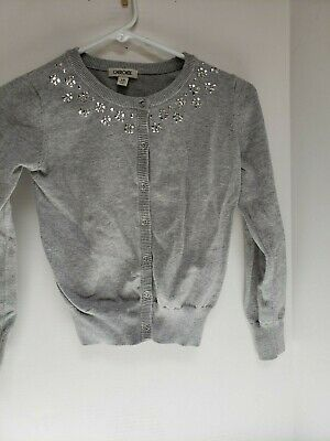 6bc57e65293 Cherokee Girls Size L Large 10 12 Gray Button Down Sweater w Bling