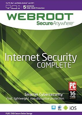 Webroot SecureAnywhere Internet Security COMPLETE, 5 Devices 1 Year - DOWNLOAD