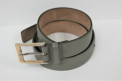 2ea307071 GUCCI Men's Gray Hillary Lux Diamante Leather Belt Size 44/110 Pre-Owned