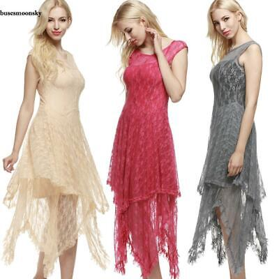 Womens Sheer Lace Double Layered Hollow Out Evening Backless Long Dress BMKY
