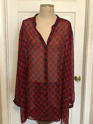 Catherines Red & Black Sheer Blouse~Metallic Stripes~5X~34/36W
