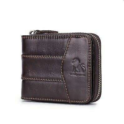 Men's Genuine Leather Short Purse Cowhide Zipper Wallet Coin Bifold Card Holder
