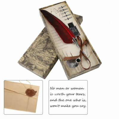 Metal Quill Dip Pen Vintage with Gift Box Feather Pen + Ink Bottle & 5 Nibs