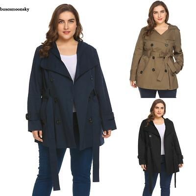 Women Hooded Double Breasted Solid Casual Trench Coat with Belt Plus BMKY
