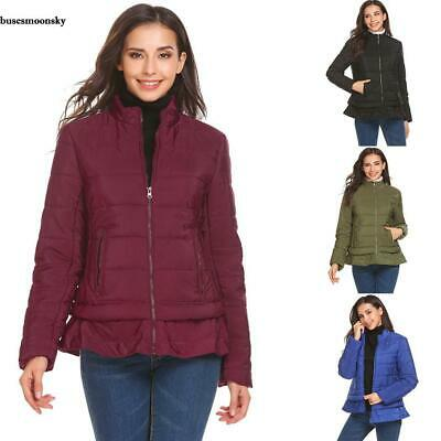 Women Casual Stand Collar Long Sleeve Solid False Two Layers Warm Down BMKY