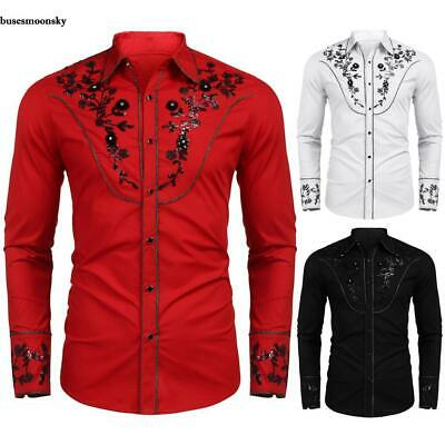 Men Fashion Formal Casual Floral Sequin Embroidery Western Shirt BMKY