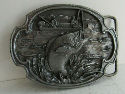 Vintage 1984 -Large Mouth Bass- Fishing Pewter Siskiyou Belt Buckle