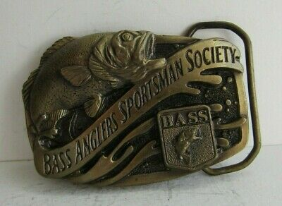 VINTAGE 1990s -BASS ANGLERS SPORTSMAN SOCIETY- FISHING BELT BUCKLE