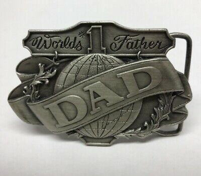 "1985 Collectible ""Worlds #1 Father"" Pewter Belt Buckle, Bergamot Brass Works"