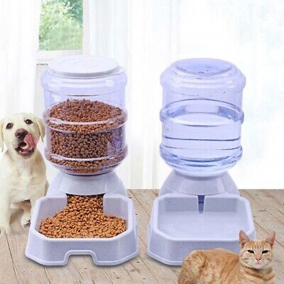1pcs Automatic Pet Food Drink Dispenser Dog Cat Feeder Water Bowl Dish 3.8L