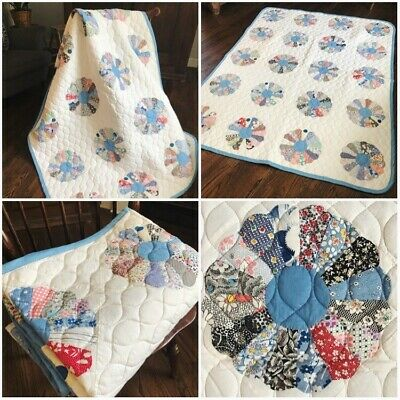 73x59in Vintage Dresden Plate Quilt with Blue Trim