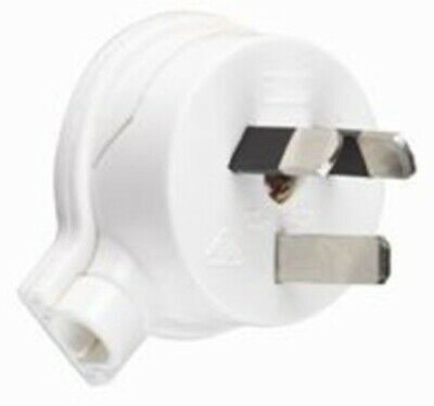 HPM PLUG TOP 32A 10mm Side Entry, 2 Flat Pin,U-Shaped Earth,45° Cord Entry WHITE