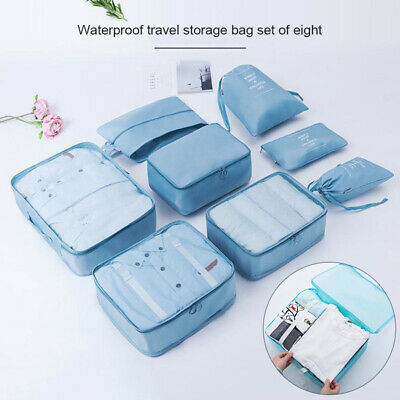 8 set Waterproof Compression Packing Cubes Large Travel Luggage Organizer New