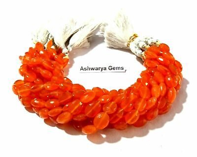 """85Cts Natural Carnelian Oval Faceted Gemstone Beads 9""""Inch 9x11-9x12mm 1 Strand"""