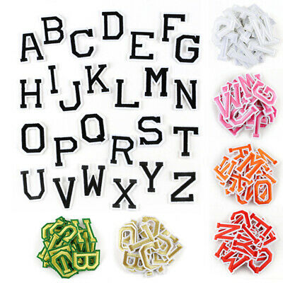 Letter Badges Embroidered Iron on Patch DIY Name Tags 26 Alphabet Emblems A-Z