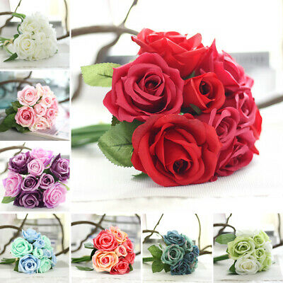 9 Heads Artificial Rose Flowers For Bouquet Home Wedding Party Bridal Vase Decor