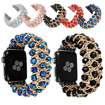For Apple Watch iWatch Series 4321 Band Wrap Beads Elastic Strap Bracelet Bangle