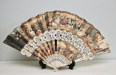 A Beautiful c19th European/Chinese Paper Fan, Hand Coloured & Gilded