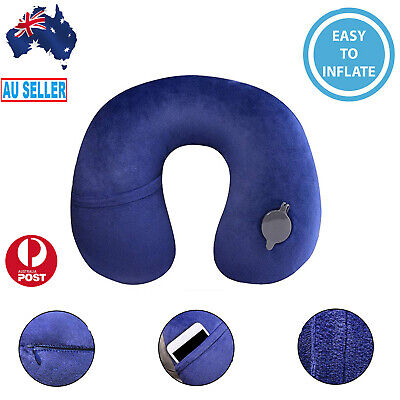 Inflatable Travel Pillow Air Cushion Neck Rest Compact For Flight Car Plane