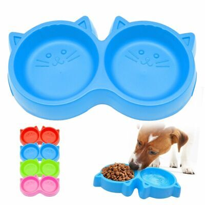 Pet Bowl Non-Skid Dog Cat Plastic Cats Puppy Double Bowls Food Drinking Feeder