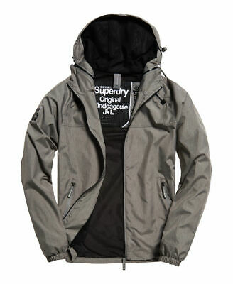 New Mens Superdry Dual Zip Through Cagoule Light Jacket Charcoal Marl