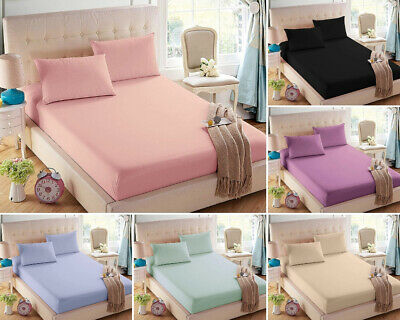 """Plain Dyed Fitted Sheet Set 100% Poly Cotton 12""""30cm Deep 4FT Double Super King"""