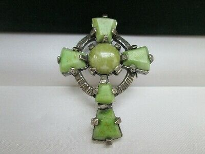 Vintage Signed MIRACLE Connemara Agate Glass Celtic Cross Pendant Brooch Pin