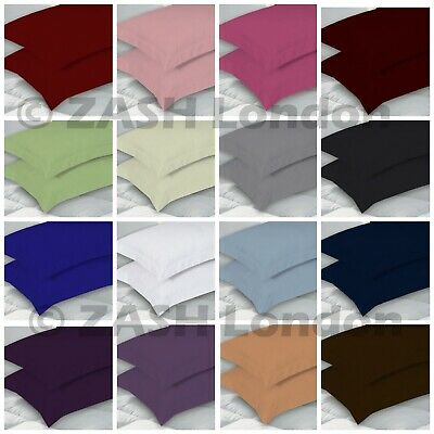 2X Oxford Pillow Cases Luxury Poly Cotton Pair Pack Plain Bedroom Pillow Covers