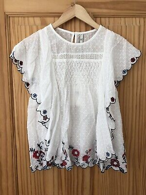 b19e203c ZARA White Floral Embroidered Dotted Mesh Top Sleeveless Ruffle T-shirt XS