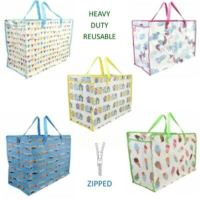 Funky Large Heavy Duty Reusable Shopping Laundry Beach Bag with Zip - Fast Post!