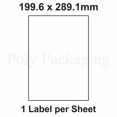 200 x A4 Printer Labels(1 PER SHEET)(199.6x289.1mm) Plain Self Adhesive Address