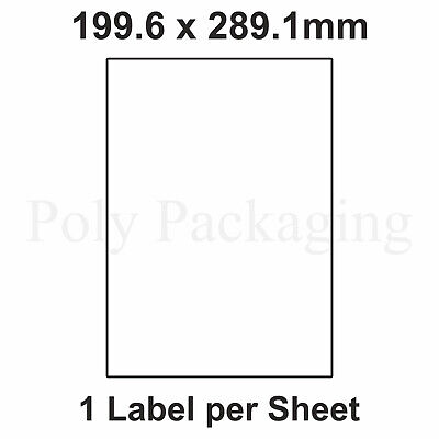 2000 x A4 Printer Labels(1 PER SHEET)(199.6x289.1mm) Plain Self Adhesive Address