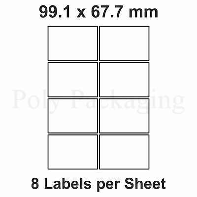 200 x A4 Printer Labels(8 PER SHEET)(99.1x67.7mm) Plain Self Adhesive Address