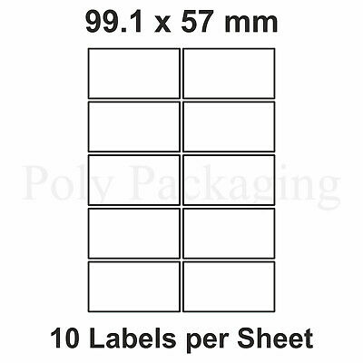 500 x A4 Printer Labels(10 PER SHEET)(99.1x57mm) Plain Self Adhesive Address