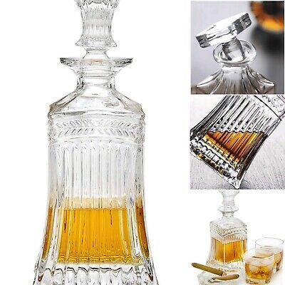 Drink Beverage Dispenser Pitcher Carafe w/ Glass Stopper, 709ml. Clear Whiskey