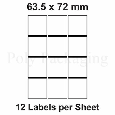5000 x A4 Printer Labels(12 PER SHEET)(63.5x72mm) Plain Self Adhesive Address