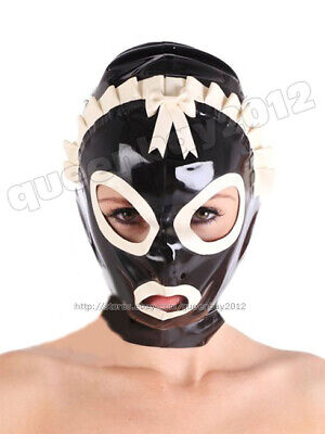 New 100% Latex Rubber 0.45mm Maiden Mask Hood Costume Suit Halloween Party