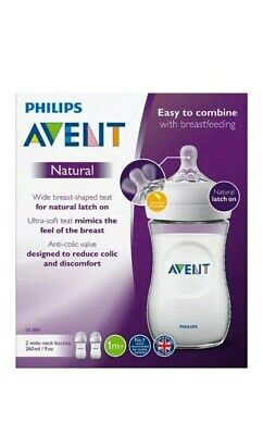 NEW Philips Avent Natural Anti Colic Baby Feeding Bottles 2 x 260ml from 1M+