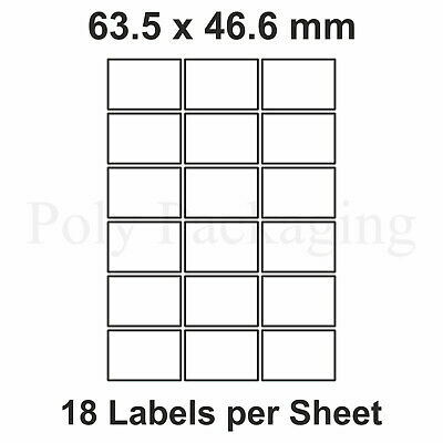 500 x A4 Printer Labels(18 PER SHEET)(63.5x46.6mm) Plain Self Adhesive Address