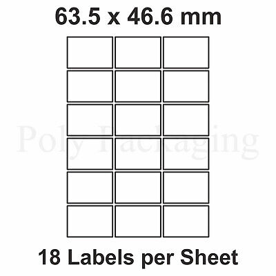 2000 x A4 Printer Labels(18 PER SHEET)(63.5x46.6mm) Plain Self Adhesive Address