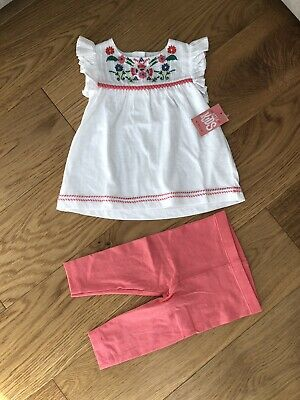 3e7a80efad66c Matalan Baby Girls Summer Pink Leggings And Top Set. Age 3-6 Months.
