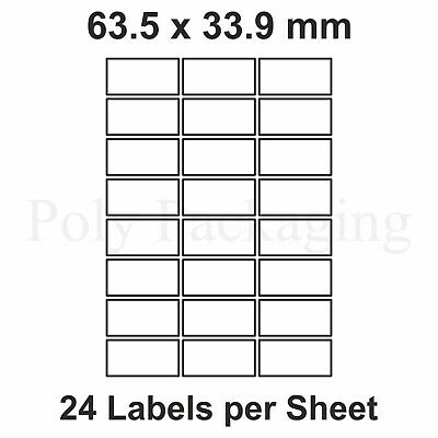 500 x A4 Printer Labels(24 PER SHEET)(64x33.9mm) Plain Self Adhesive Address
